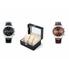 Luxe horloge/armbanden bewaardoos met ruimte voor drie horloges  + 2 GRATIS horloges