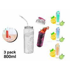 Waterfles met Fruit Filter Infuser - 800 ML - 3-pack