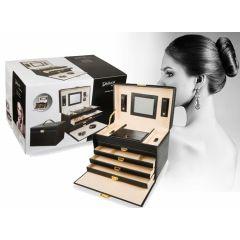 Luxe Sieradenbox met Spiegel - 8 Compartimenten - Prachtig & Slijtvast Kunstleder