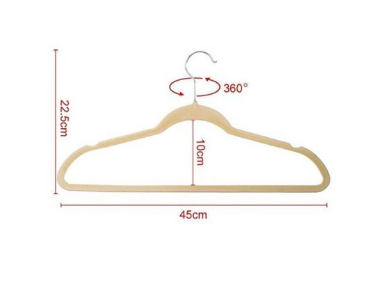 Stevige suede kledinghangers - 50 stuks - Beige