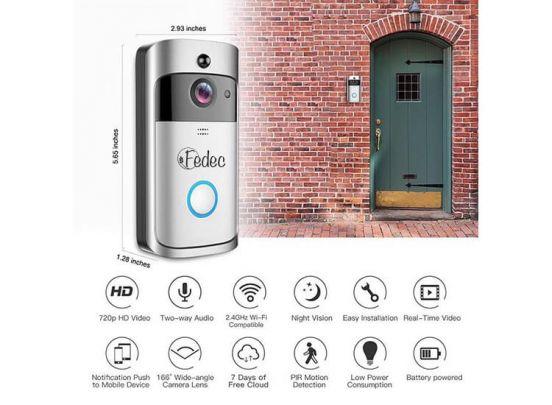 Fedec Wi-Fi Video Deurbel met Camera - Draadloos