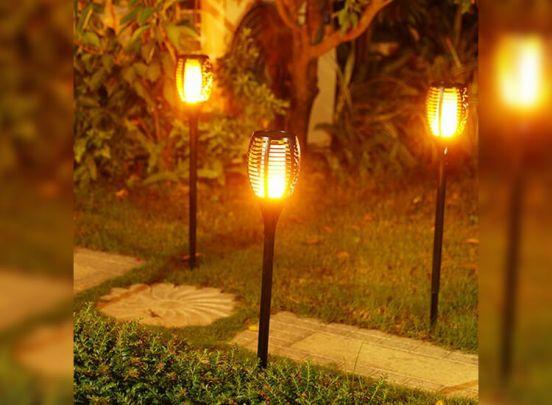 Grundig solar led tuinlampen met vuursimulatie - 2 stuks