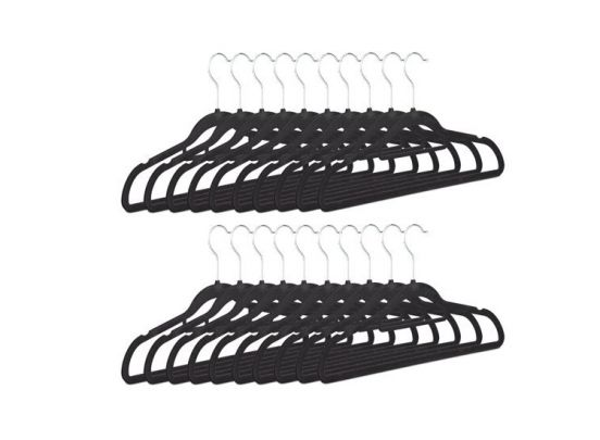 16 kledinghangers -  zwart