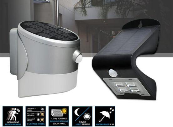 Dreamled Solar Led Design Wandlampen - Draadloze buitenlamp met licht- en bewegingssensor - 2 Verschillende Designs