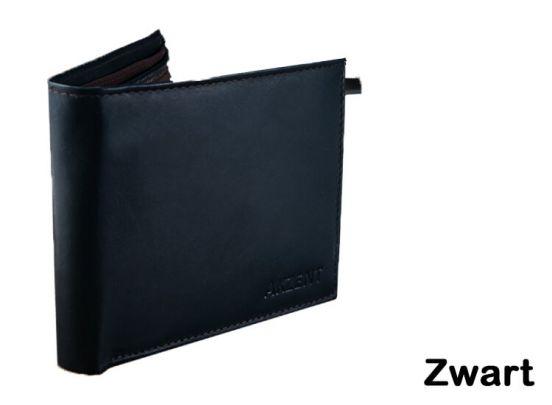 Prachtige heren portemonnee -100% leder - Zwart, navy of bruin