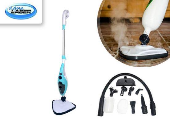 Aqua Laser Brilliant stoomreiniger met afneembaar handstoomapparaat - stoommop blauw