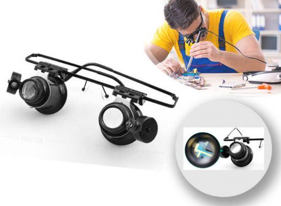 Professionele Vergrootglasbril - Vergroot 20x - LED Verlichting