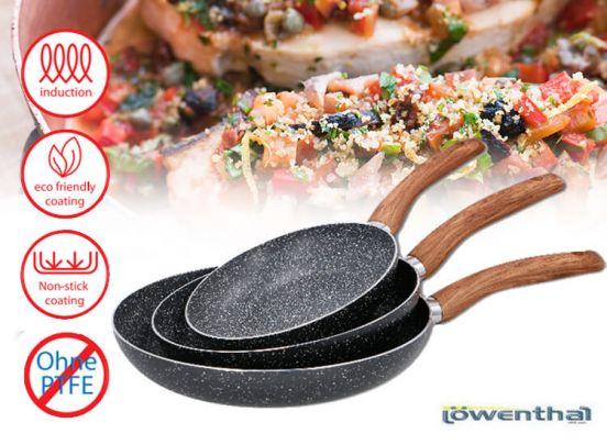 Lowenthal koekenpannen met marmeren coating - 3 pannen