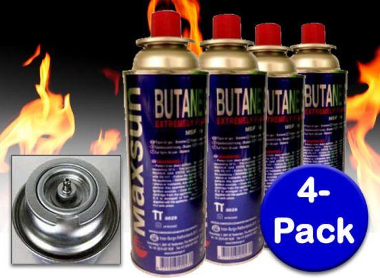 Maxsun butaangas - 4-pack - Voorzien van een 'klik' aansluiting