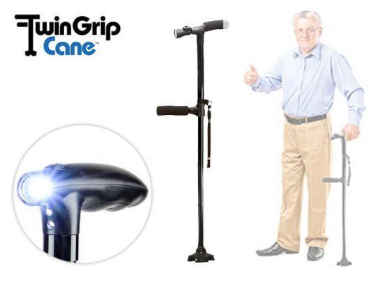 Orange Donkey Twin Grip Cane - Bied je mobiliteit en stabiliteit bij opstaan en lopen