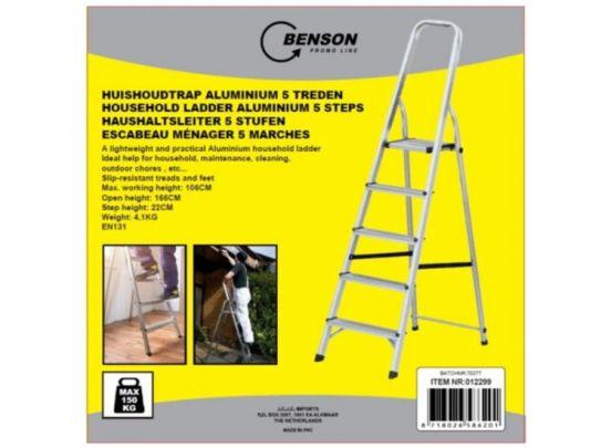 Benson huishoudtrap aluminium - 5 treden - max 150kg