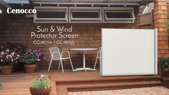 Cenocco uitschuifbaar zon- en windscherm