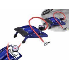 Voetpomp met manometer - blauw