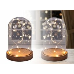 Glazen Stolp met Led Verlichting - Deco - 16 cm - 20 LED lichtjes