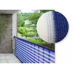 Balkondoek - Balkonzeil - Balkonscherm - 500 x 90 | Blauw/Wit