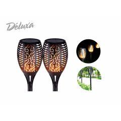 Deluxa solar tuinlamp met led vlam verlichting - 2 Stuks