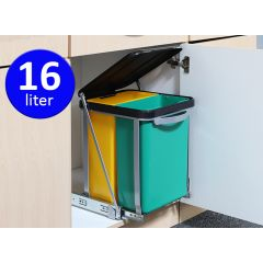 Uitschuifbare keukenkast prullenbak 2x 8L