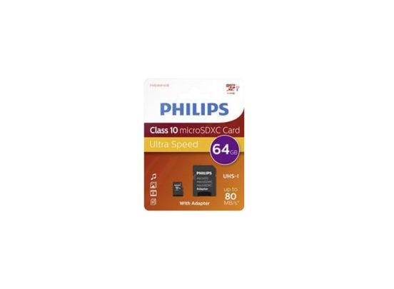 Philips Micro SDXC 64GB UHS-1 U1 met adapter