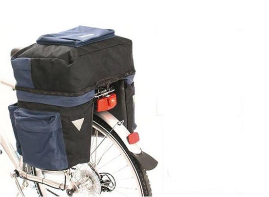 Dubbele fietstas - Met boventas en twee zijtassen