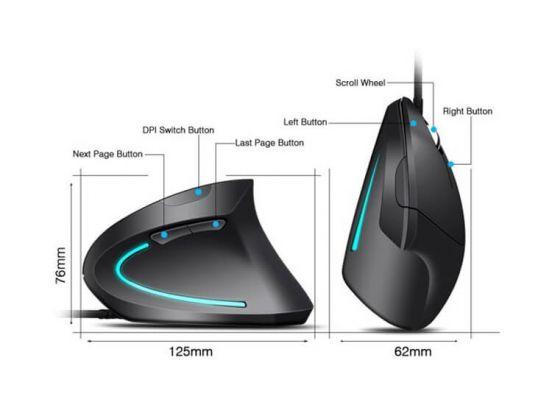Ergonomische verticale muis - voor Rechtshandige