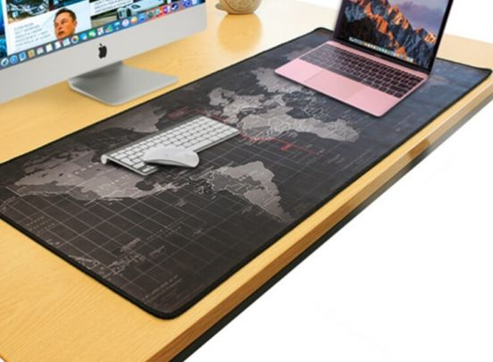 XXL Anti-slip muismat - Wereldkaart - Handige en leuke grote muismat van 40 x 90 cm