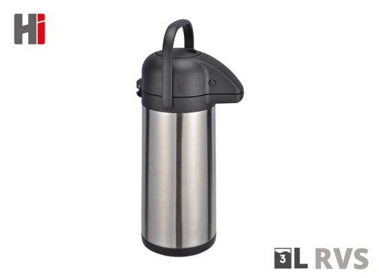 Haushalt Pomp Thermoskan met dispenser - 3 liter - Pomp - RVS