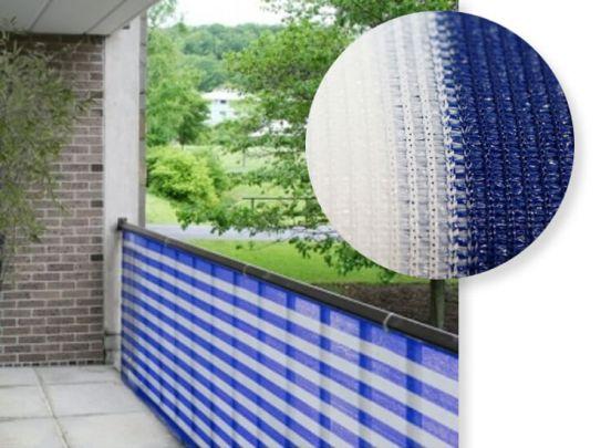 Balkondoek - Balkonzeil - Balkonscherm - 500 x 90   Blauw/Wit