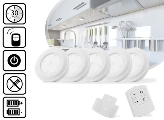 Led Lovers Puck light Led wireless 5 pack + Afstandsbediening