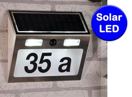 Solar huis nummer met bewegingsmelder