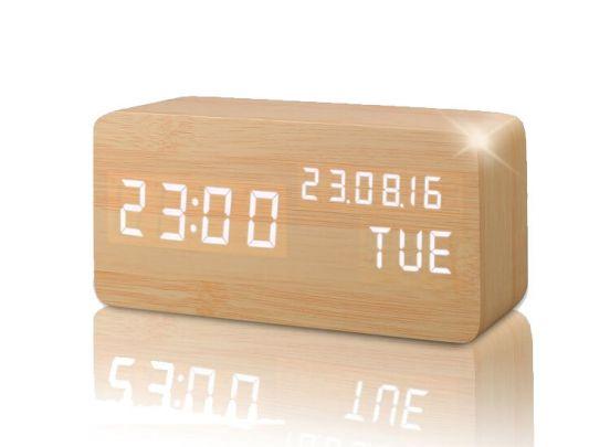 Houtlook design wekker - Met zeer uitgebreide functionaliteiten