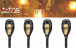 V-tac LED Solar Fakkel - Tuinverlichting op Zonne-Energie - 4 stuks