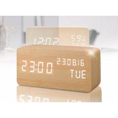 Houten design wekker - Met zeer uitgebreide functionaliteiten