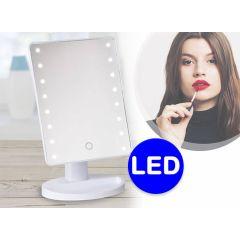 Make-up spiegel op standaard - Voorzien van 16 led-lampjes