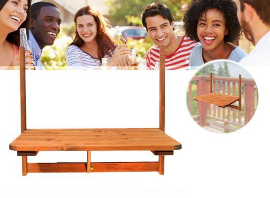 Opklapbare balkontafel 63 x 40 cm - Van weerbestendig hout