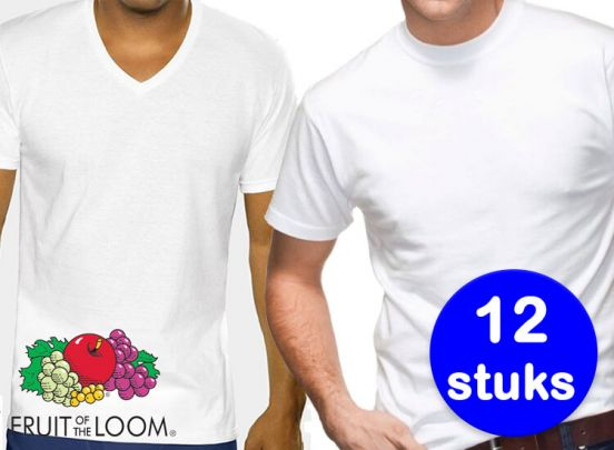 12 Witte Fruit of the Loom T-shirts