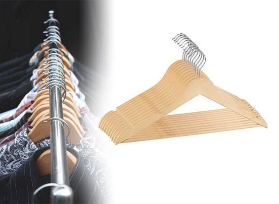 Houten kledinghangers met inkeping - 10 stuks