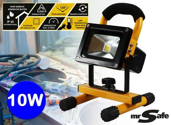 Mr Safe oplaadbare led-straler 10W - Oplaadbare en draadloze werklamp