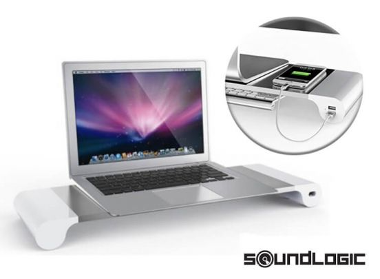 Soundlogic spacebar - Monitorstandaard met 4 USB laadpunten