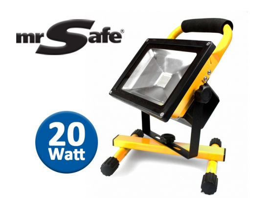 mr Safe LED Battery Floodlight 20W - Oplaadbare bouwlamp voor binnen of buiten
