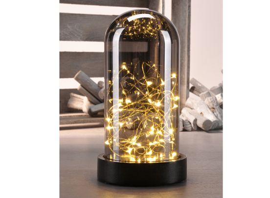 Deko Glass Bell with Mini led copper wire - Sfeervolle kerstverlichting in glazen stolp
