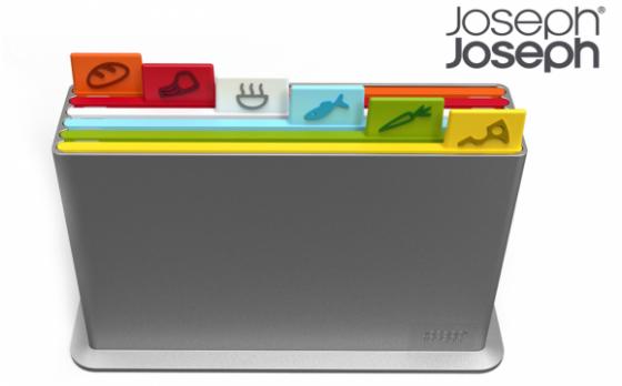 Joseph Joseph Index Snijplankenset - met Houder - Antislip - 6 Stuks - Zilverkleurig