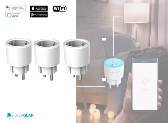 Silvergear Smart Plug WiFi - Slimme Stekker - 3 Stuks - Koppel met Google Home, Amazon Alexa en App