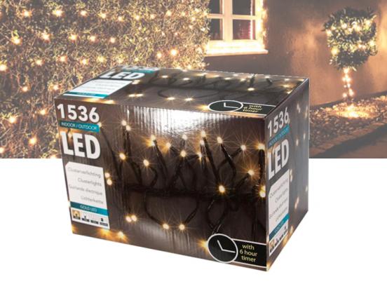 Kerstverlichting | Cluster 1536 LED Goud | 10M | Voor Binnen & Buiten IP44 | Met Timer | Kerstboomverlichting | Kerst