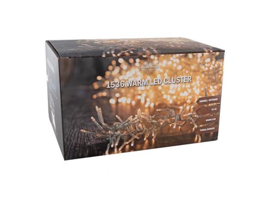 Kerstverlichting | Cluster 1536 Warm LED Transparant | 10M | Voor Binnen & Buiten IP44 | Met Timer | Kerstboomverlichting | Kerst