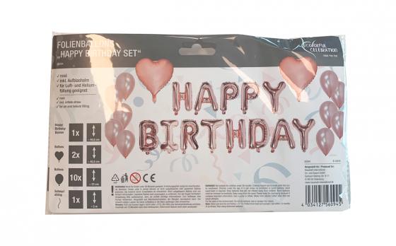 Happy Birthday mega pack - Roségoude ballonnen