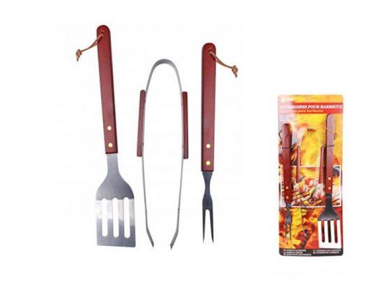 Barbecue accessoire set - 3-delig - Roestvast staal met houten handvatten