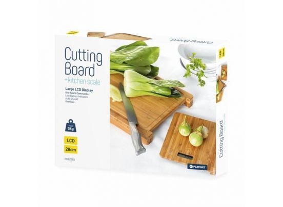 Platinet snijplank met keukenweegschaal - bamboe
