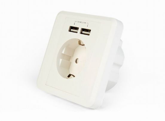 Cablexpert inbouwstopcontact met dubbele USB-lader 1+1 Gratis
