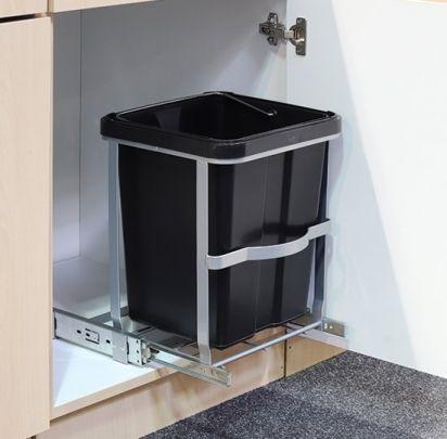 Uitschuifbare vuilnisbak voor in het keukenkastje, opent en sluit vanzelf - 14L