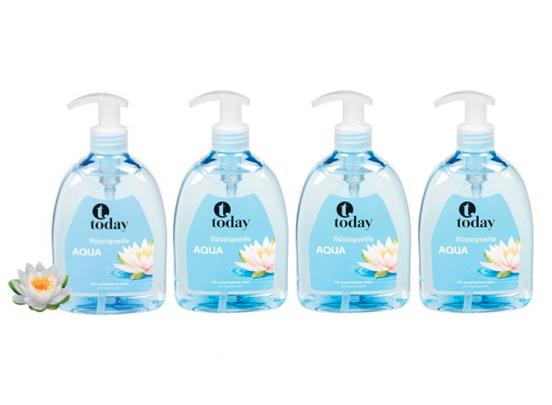 Today handzeep pomp - Aqua 500 ml - 4 stuks